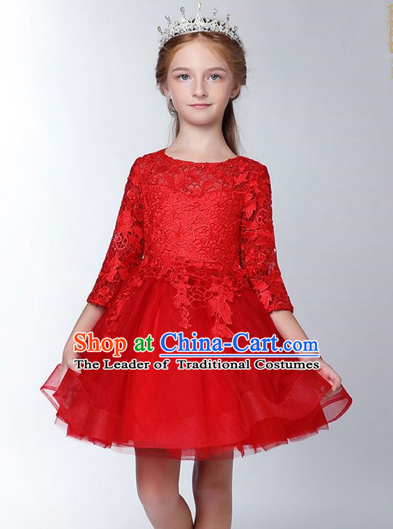 Children Model Show Dance Costume Embroidered Red Lace Dress, Ceremonial Occasions Catwalks Princess Full Dress for Girls