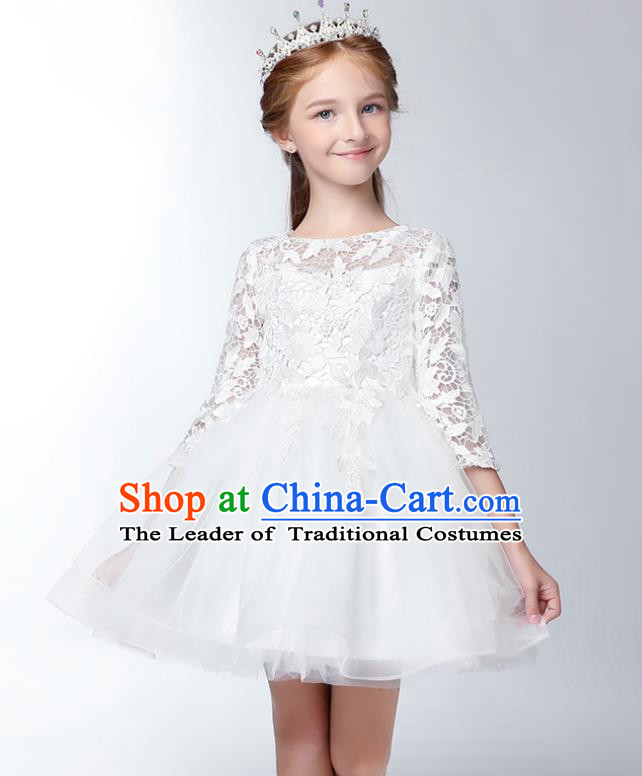 Children Model Show Dance Costume Embroidered White Lace Dress, Ceremonial Occasions Catwalks Princess Full Dress for Girls