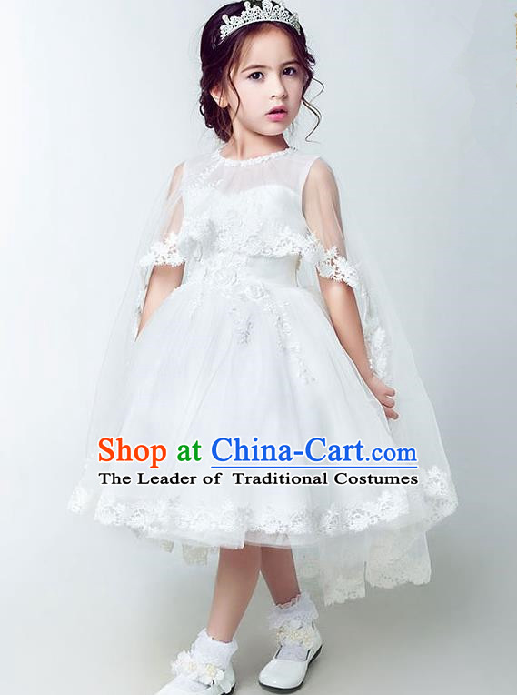 Children Christmas Model Show Dance Costume White Veil Bubble Dress, Ceremonial Occasions Catwalks Princess Full Dress for Girls