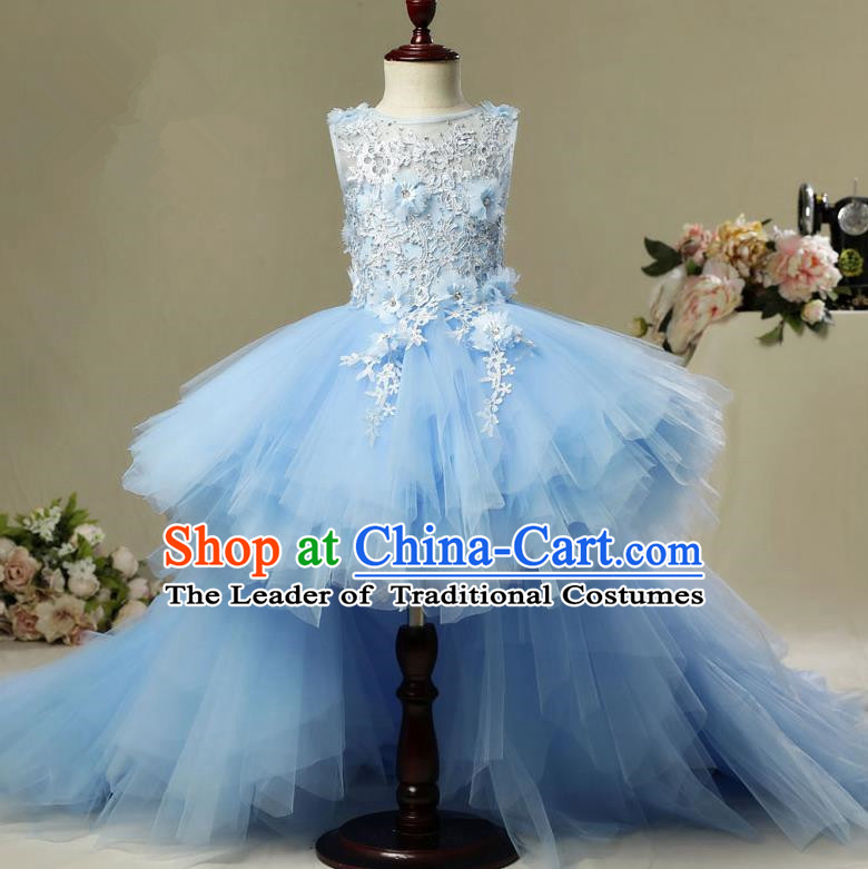 Children Christmas Model Show Dance Costume Blue Veil Trailing Dress, Ceremonial Occasions Catwalks Princess Full Dress for Girls