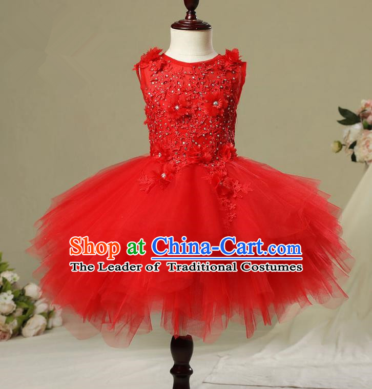 Children Christmas Model Show Dance Costume Red Veil Bubble Dress, Ceremonial Occasions Catwalks Princess Full Dress for Girls
