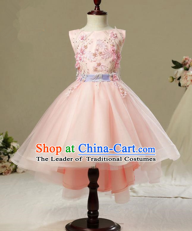 Children Model Show Dance Costume Pink Embroidered Bubble Dress, Ceremonial Occasions Catwalks Princess Full Dress for Girls