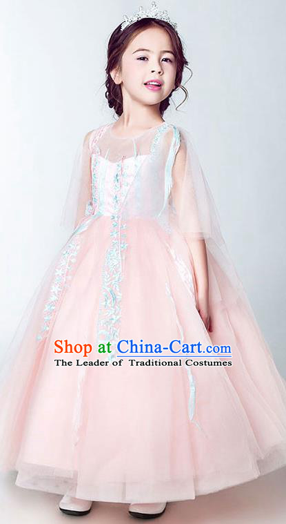 Children Christmas Model Show Dance Costume Embroidered Veil Pink Dress, Ceremonial Occasions Catwalks Princess Full Dress for Girls