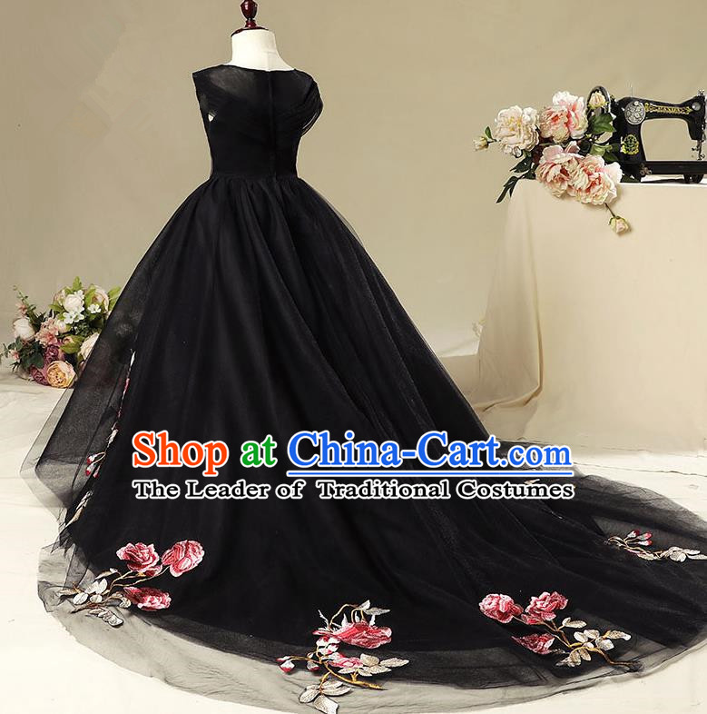 Children Christmas Model Show Dance Costume Embroidered Black Trailing Dress, Ceremonial Occasions Catwalks Princess Full Dress for Girls