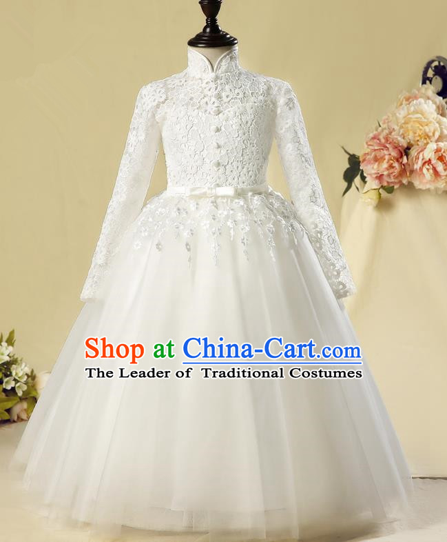 Children Christmas Model Show Dance Costume White Lace Dress, Ceremonial Occasions Catwalks Princess Full Dress for Girls