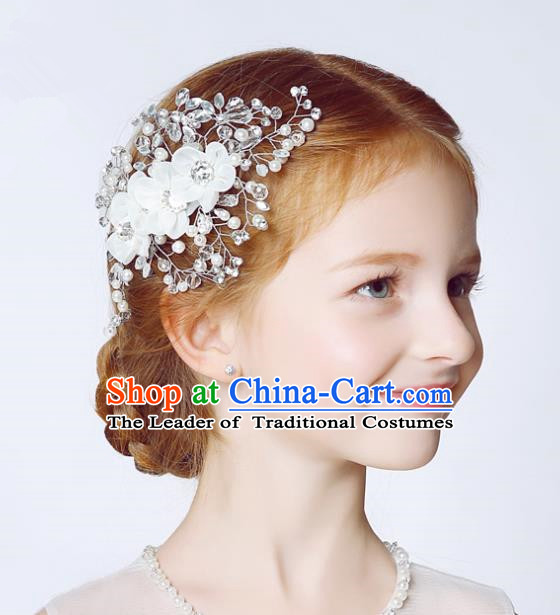 Handmade Children Hair Accessories White Flowers Hair Stick, Princess Halloween Model Show Crystal Headwear for Kids