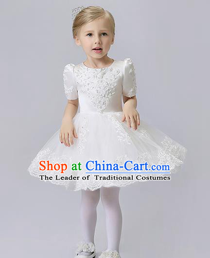 Children Model Show Dance Costume White Veil Bubble Dress, Ceremonial Occasions Catwalks Princess Full Dress for Girls