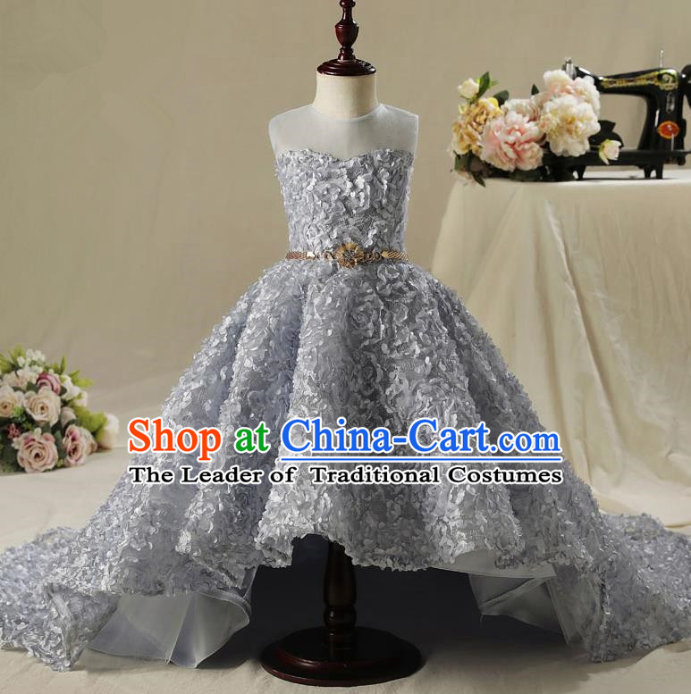 Children Model Show Dance Costume Grey Flower Petals Trailing Dress, Ceremonial Occasions Catwalks Princess Full Dress for Girls
