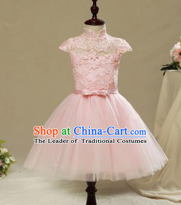 Children Model Show Dance Costume Pink Lace Short Sleeve Dress, Ceremonial Occasions Catwalks Princess Full Dress for Girls