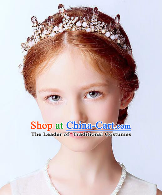 Handmade Children Hair Accessories Crystal Royal Crown, Princess Halloween Model Show Hair Clasp Headwear for Kids