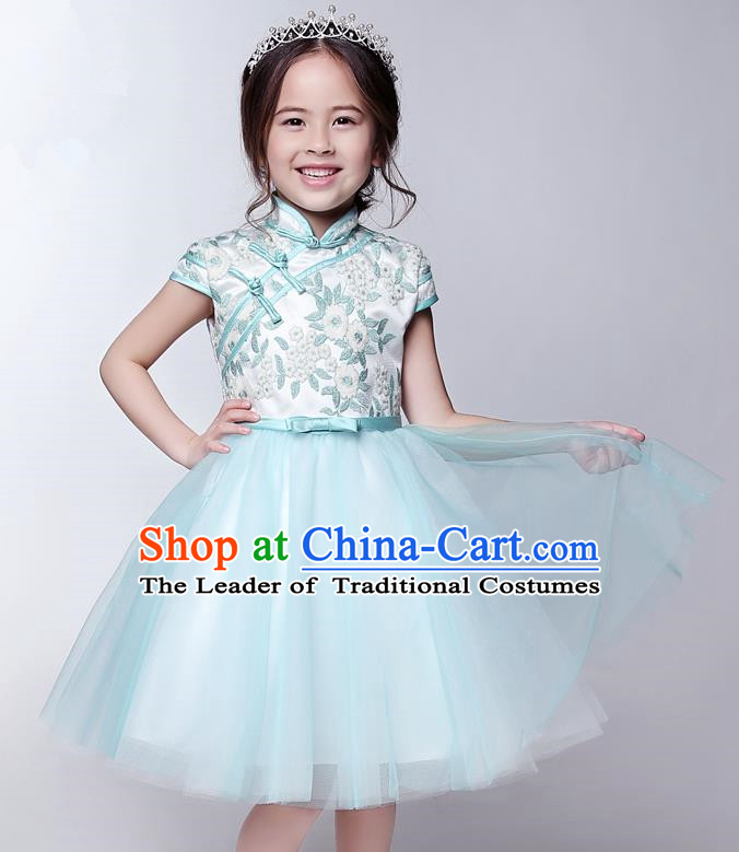 Top Compere Performance Catwalks Costume Children Chorus Red Dress with Wings Modern Dance Princess Short Red Bubble Dress for Girls Kids