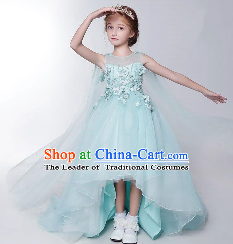 Children Model Show Dance Costume Green Veil Trailing Dress, Ceremonial Occasions Catwalks Princess Full Dress for Girls