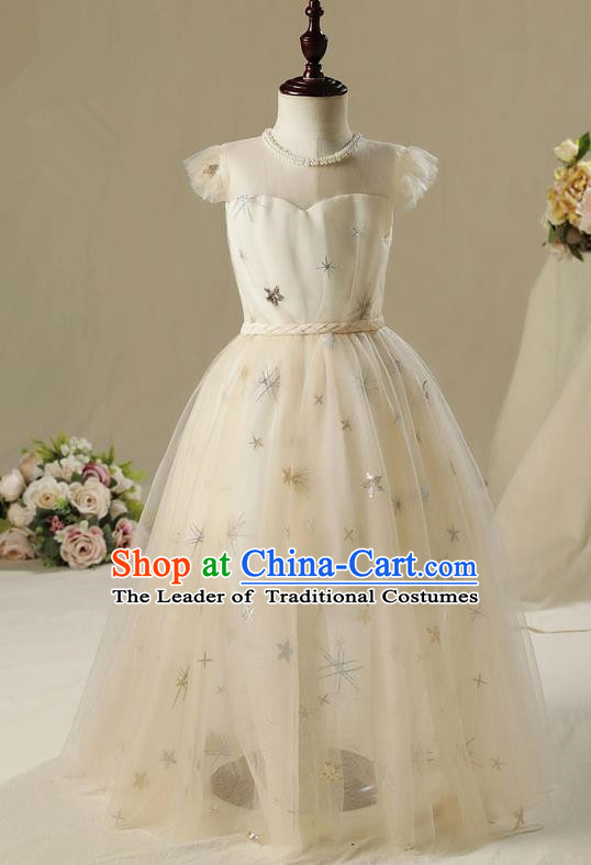 Children Model Show Dance Costume White Dress, Ceremonial Occasions Catwalks Princess Full Dress for Girls