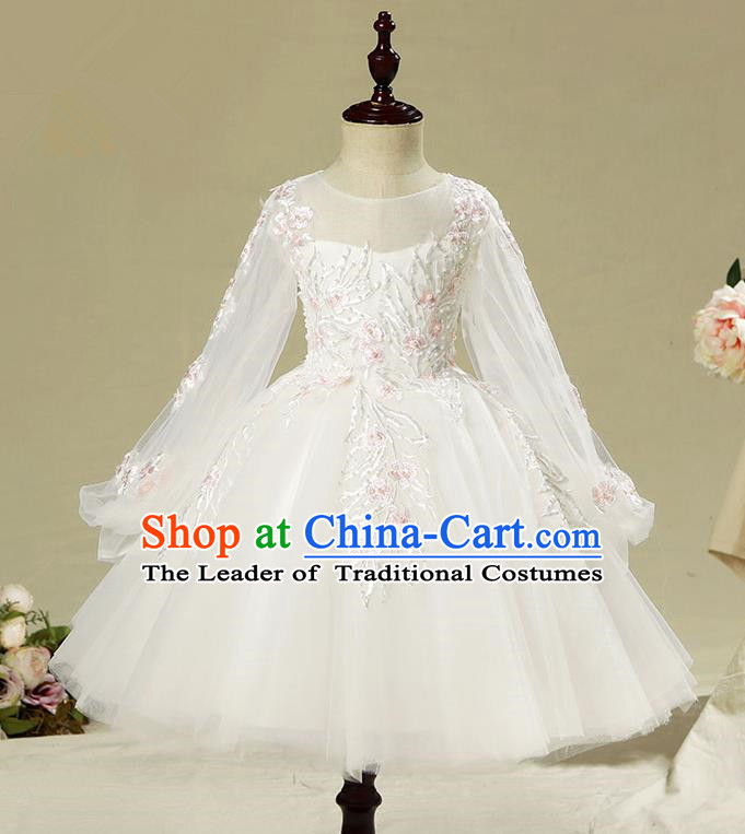 Children Model Show Dance Costume Long Sleeve White Dress, Ceremonial Occasions Catwalks Princess Full Dress for Girls