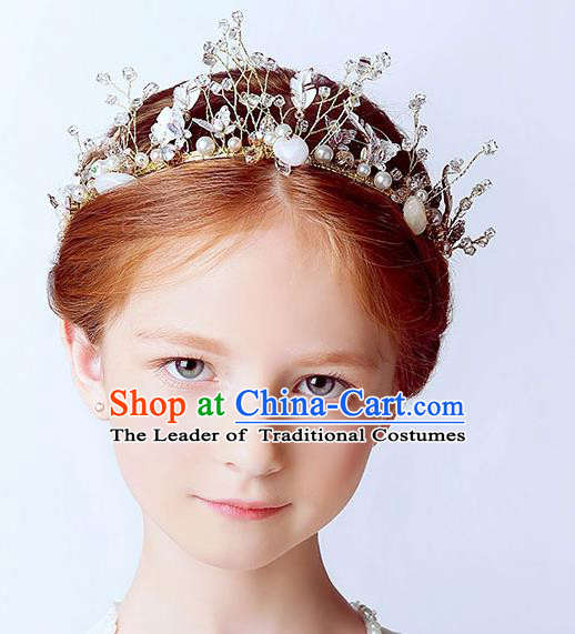 Handmade Children Hair Accessories Crystal Pearls Royal Crown, Princess Halloween Model Show Hair Clasp Headwear for Kids
