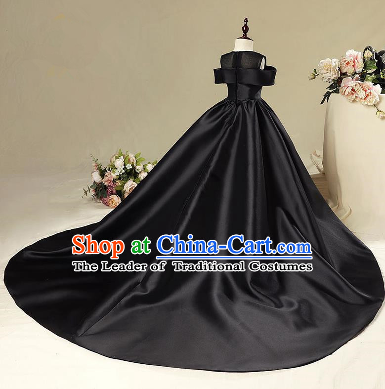 Children Model Show Dance Costume Black Satin Trailing Dress, Ceremonial Occasions Catwalks Princess Full Dress for Girls