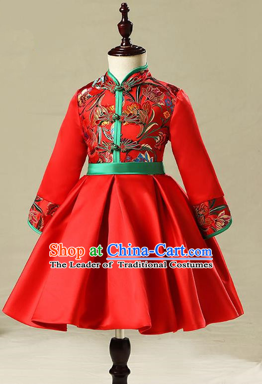 Children Model Show Dance Costume China Red Embroidered Cheongsam, Ceremonial Occasions Catwalks Princess Full Dress for Girls