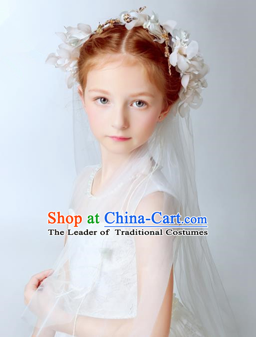 Handmade Children Hair Accessories White Flowers Head Bridal Veil, Princess Halloween Model Show Hair Clasp Headwear for Kids