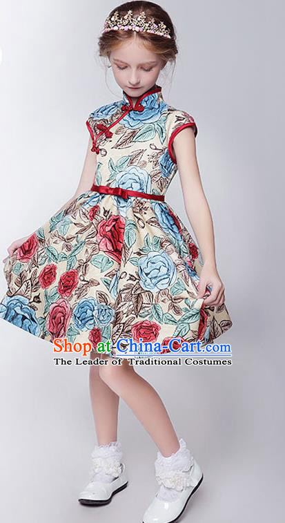 Children Model Show Dance Costume Printing Cheongsam, Ceremonial Occasions Catwalks Princess Full Dress for Girls