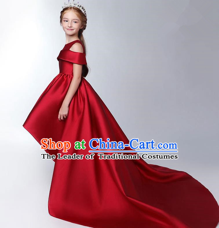 Children Model Show Dance Costume Wine Red Satin Trailing Dress, Ceremonial Occasions Catwalks Princess Full Dress for Girls