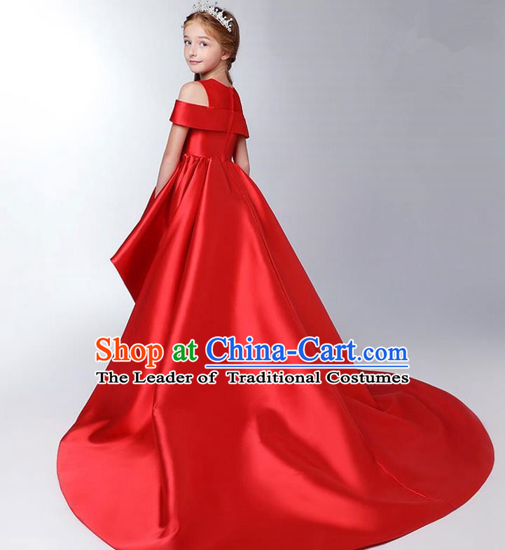 Children Model Show Dance Costume Red Satin Trailing Dress, Ceremonial Occasions Catwalks Princess Full Dress for Girls
