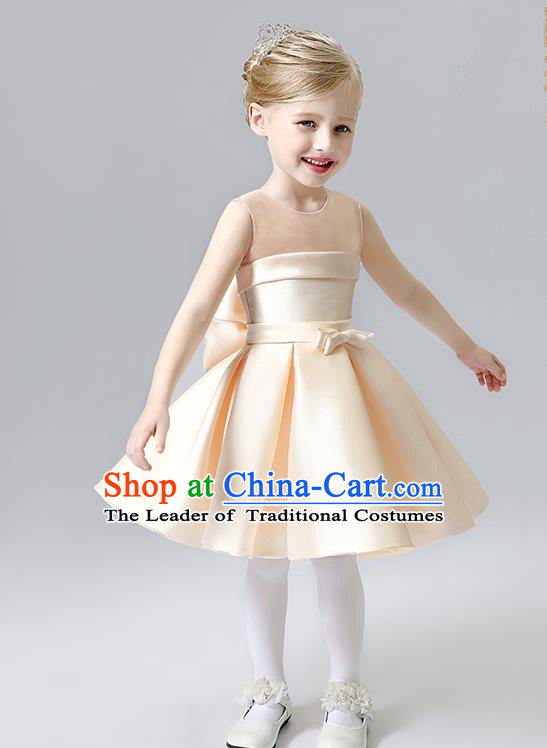 Children Model Show Ballet Dance Costume Champagne Satin Dress, Ceremonial Occasions Catwalks Princess Full Dress for Girls