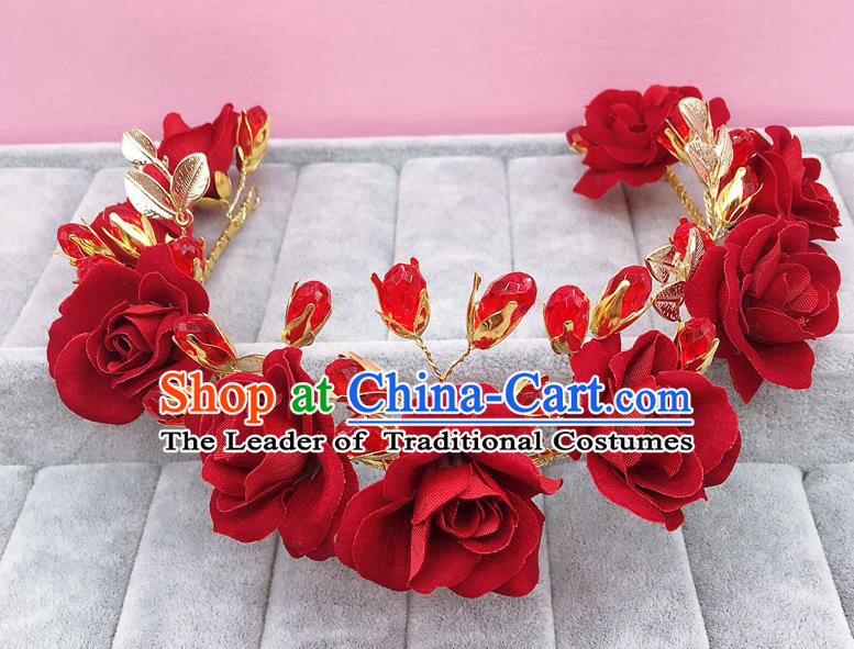 Handmade Children Hair Accessories Red Rose Royal Crown, Princess Halloween Model Show Hair Clasp Headwear for Kids