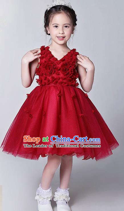 Children Model Show Dance Costume Red Veil Bubble Dress, Ceremonial Occasions Catwalks Princess Full Dress for Girls