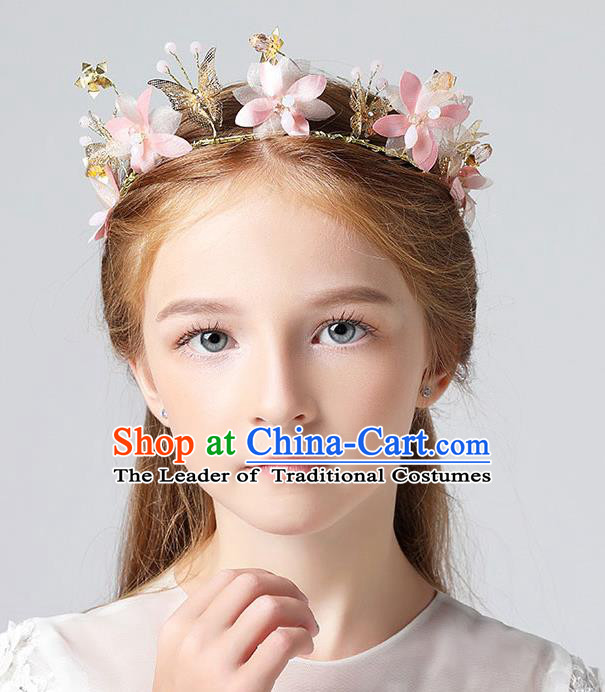 Handmade Children Hair Accessories Pink Flowers Garland, Princess Halloween Model Show Hair Clasp Headwear for Kids