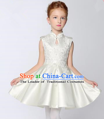 Children Model Show Dance Costume White Cheongsam Dress, Ceremonial Occasions Catwalks Princess Full Dress for Girls