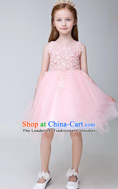 Children Model Show Ballet Dance Costume Pink Lace Veil Dress, Ceremonial Occasions Catwalks Princess Full Dress for Girls
