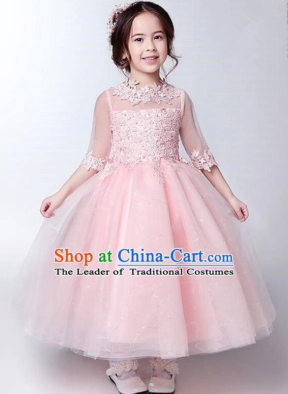 Children Model Show Ballet Dance Costume Pink Lace Dress, Ceremonial Occasions Catwalks Princess Full Dress for Girls