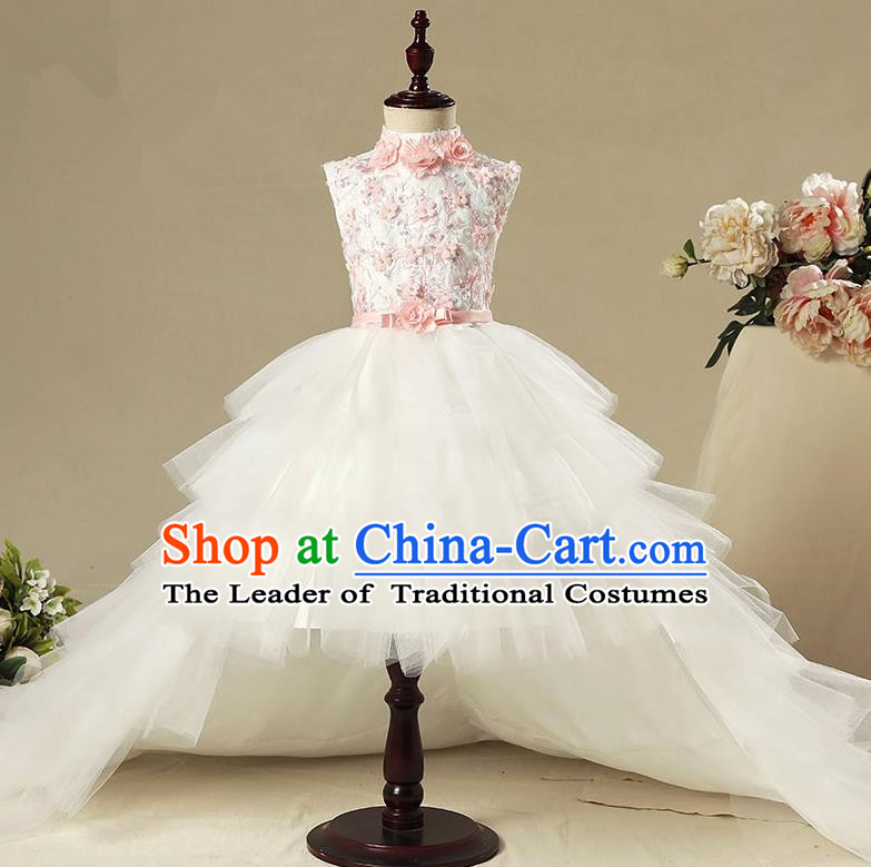 Children Model Show Dance Costume Trailing Veil Dress, Ceremonial Occasions Catwalks Princess Full Dress for Girls