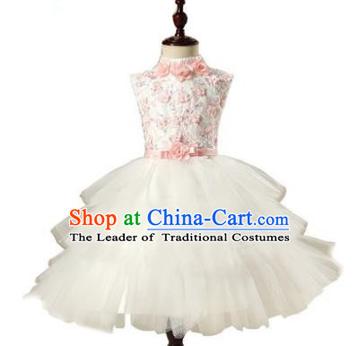 Children Model Show Dance Costume Bubble Veil Dress, Ceremonial Occasions Catwalks Princess Full Dress for Girls