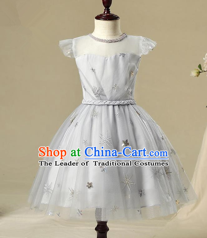 Children Model Show Dance Costume Grey Bubble Dress, Ceremonial Occasions Catwalks Princess Full Dress for Girls