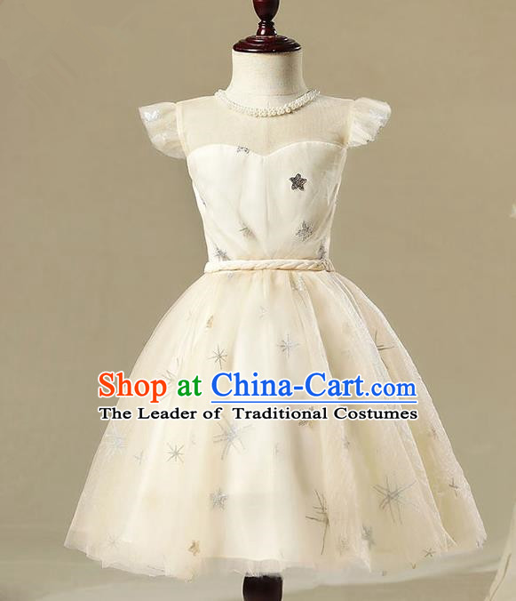 Children Model Show Dance Costume Champagne Bubble Dress, Ceremonial Occasions Catwalks Princess Full Dress for Girls