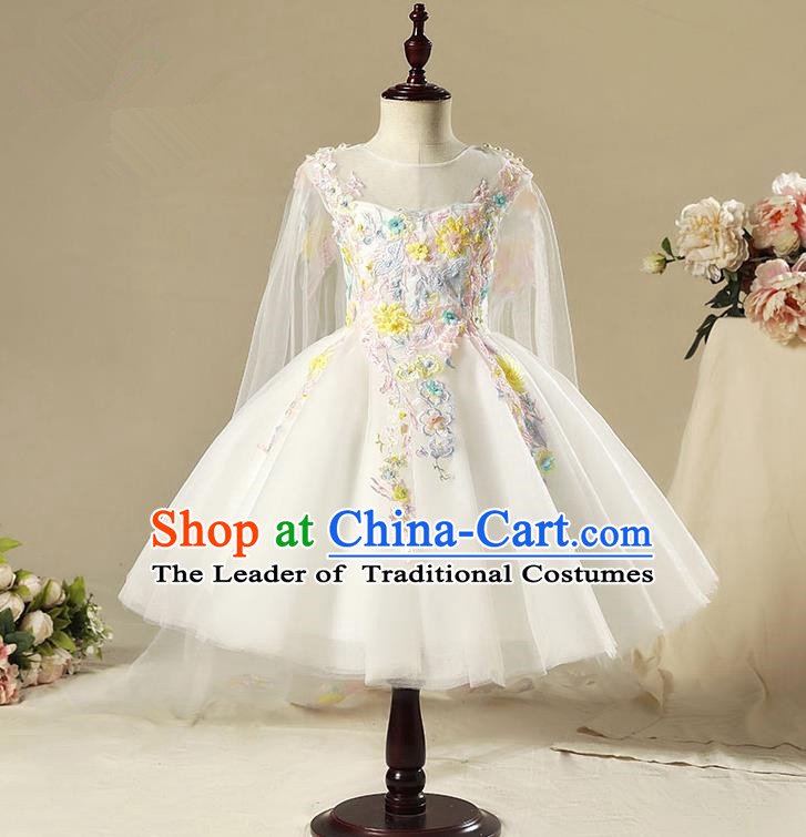 Children Model Show Dance Costume White Veil Bubble Full Dress, Ceremonial Occasions Catwalks Princess Dress for Girls