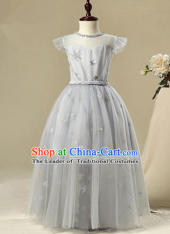 Children Model Show Dance Costume Grey Veil Dress, Ceremonial Occasions Catwalks Princess Full Dress for Girls