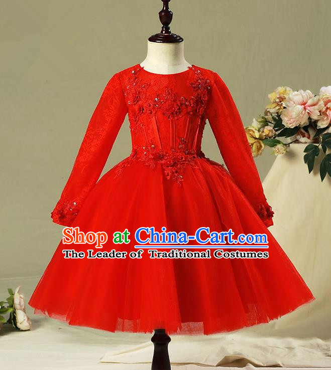 Children Model Show Dance Costume Red Veil Bubble Full Dress, Ceremonial Occasions Catwalks Princess Dress for Girls