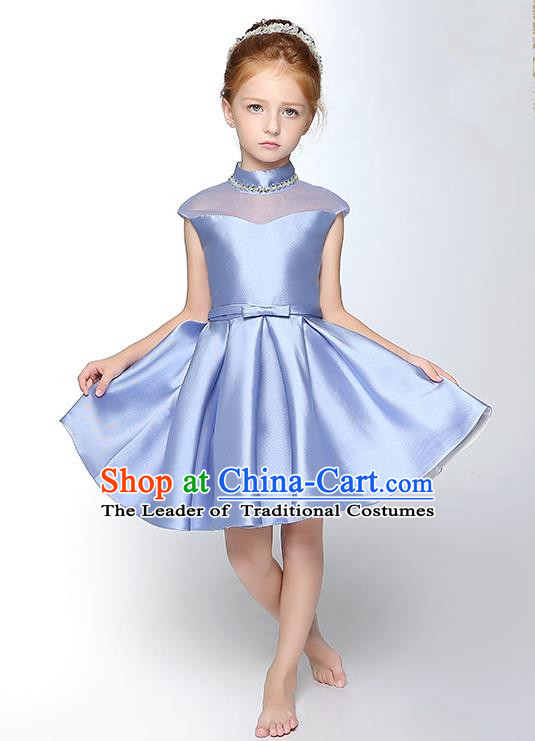 Children Model Show Dance Costume Crystal Blue Satin Full Dress, Ceremonial Occasions Catwalks Princess Dress for Girls