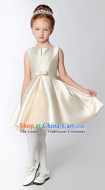 Children Model Show Dance Costume Beige Satin Full Dress, Ceremonial Occasions Catwalks Princess Dress for Girls