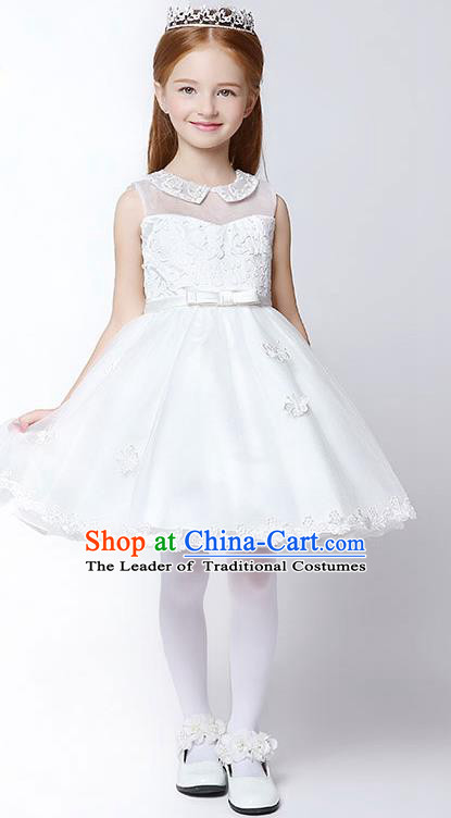 Children Model Show Dance Costume Lace Bubble Full Dress, Ceremonial Occasions Catwalks Princess Dress for Girls