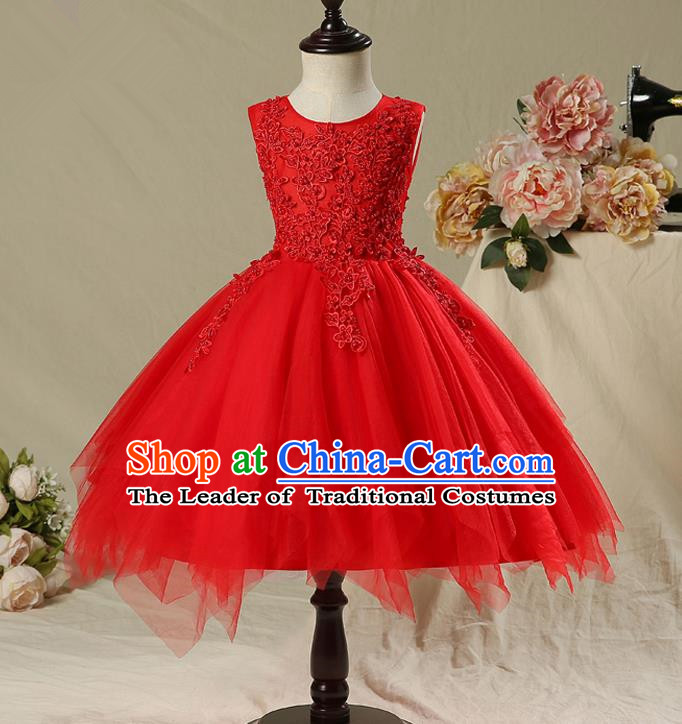 Children Model Show Dance Costume Red Veil Full Dress, Ceremonial Occasions Catwalks Princess Bubble Dress for Girls