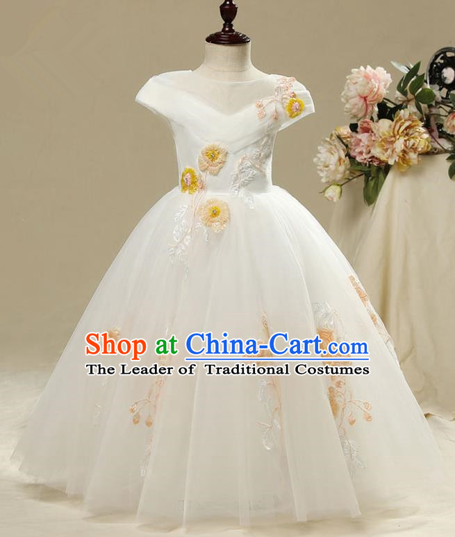Children Model Show Dance Costume Embroidered Full Dress, Ceremonial Occasions Catwalks Princess Dress for Girls