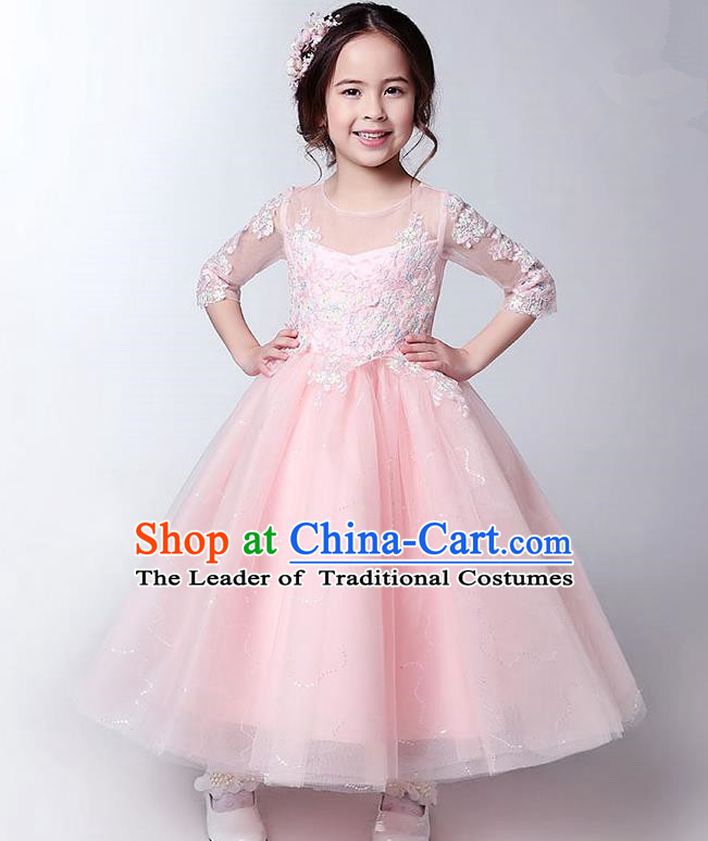 Children Model Show Dance Costume Pink Lace Full Dress, Ceremonial Occasions Catwalks Princess Dress for Girls