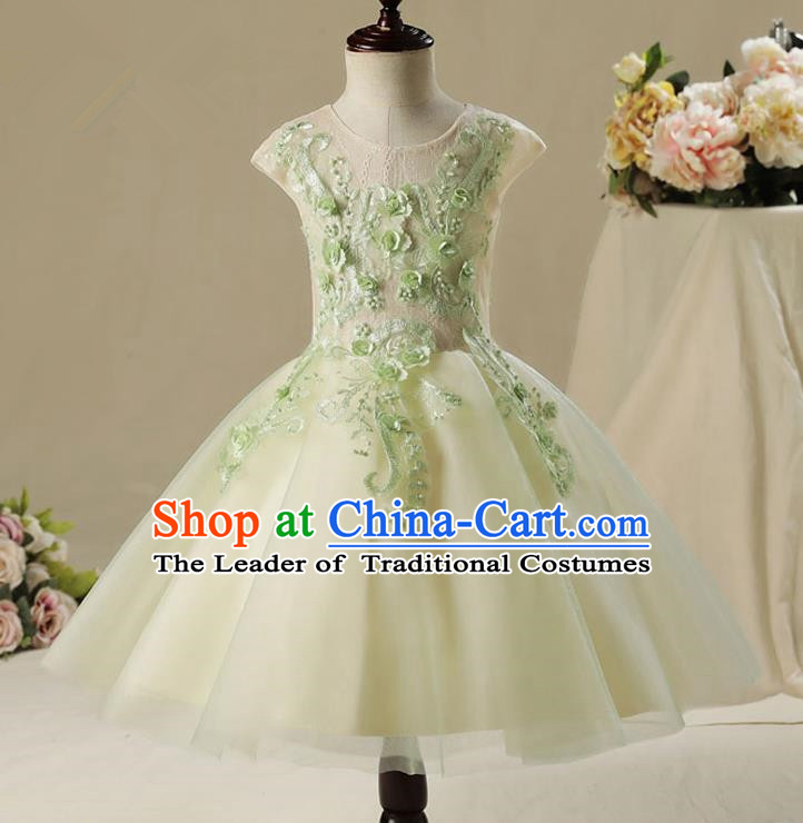Children Model Show Dance Costume Embroidery Green Bubble Full Dress, Ceremonial Occasions Catwalks Princess Veil Dress for Girls