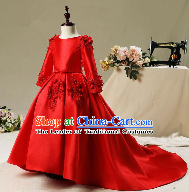 Children Model Show Dance Costume Embroidery Red Trailing Full Dress, Ceremonial Occasions Catwalks Princess Dress for Girls