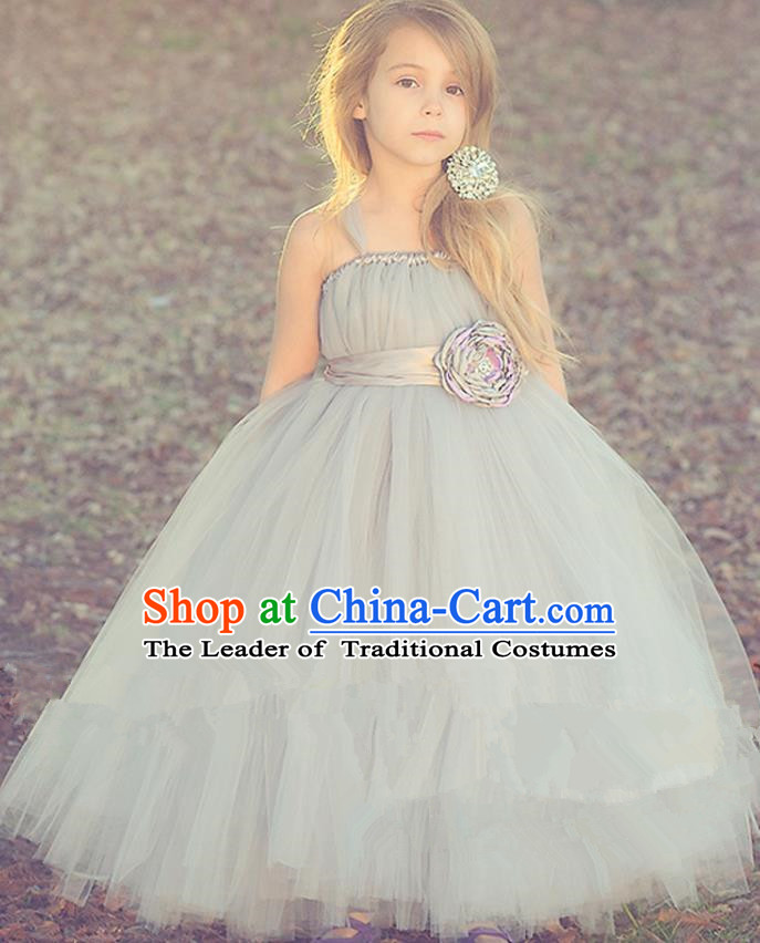 Children Model Show Dance Costume Grey Veil Full Dress, Ceremonial Occasions Catwalks Princess Dress for Girls