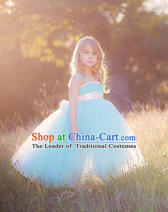 Children Model Show Dance Costume Blue Veil Full Dress, Ceremonial Occasions Catwalks Princess Dress for Girls