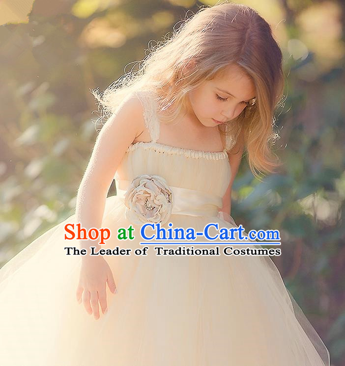 Children Model Show Dance Costume Champagne Veil Full Dress, Ceremonial Occasions Catwalks Princess Dress for Girls